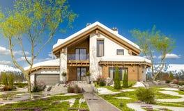 het 3d teruggeven van de lente modern comfortabel huis in chaletstijl Royalty-vrije Stock Fotografie