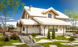 het 3d teruggeven van de lente modern comfortabel huis in chaletstijl Stock Fotografie