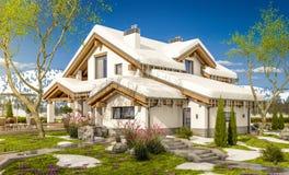 het 3d teruggeven van de lente modern comfortabel huis in chaletstijl Stock Foto