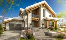 het 3d teruggeven van de lente modern comfortabel huis in chaletstijl Stock Afbeelding