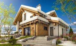 het 3d teruggeven van de lente modern comfortabel huis in chaletstijl Stock Foto's