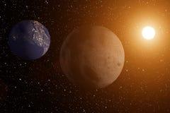 het 3D teruggeven van de maan met de aarde en zon op de achtergrond vector illustratie