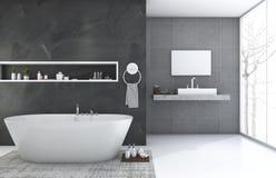 het 3d teruggeven van de moderne en badkamers van de zolderstijl met aardige de wintermening vector illustratie