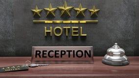 het 3D teruggeven van de ontvangstbureau van het Hotel Royalty-vrije Stock Foto