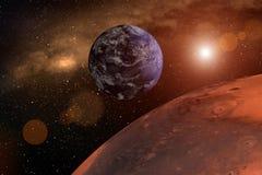 het 3d teruggeven van de planeet brengt in de war als close-up met de aarde en zon op de achtergrond vector illustratie
