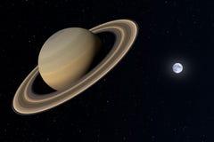 het 3d teruggeven van de planeet Saturnus met de aarde op de achtergrond vector illustratie