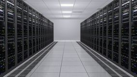 het 3D teruggeven van de serverruimte met werkende computers van gegevensservers met het opvlammen LEDs stock footage