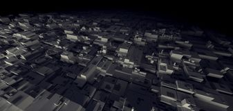 het 3D Teruggeven van de stad van het Nachtpakhuis cyber van de krottenwijk, ruimtest Royalty-vrije Stock Afbeeldingen