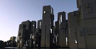 het 3D Teruggeven van de stad van het Nachtpakhuis cyber van de krottenwijk, ruimtest Stock Afbeeldingen