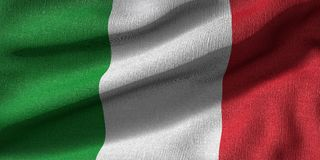 het 3D teruggeven van de vlag van Itali? met stoffentextuur royalty-vrije illustratie