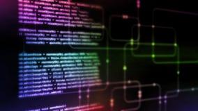 het 3D Teruggeven van Digitale abstracte technologie Binair de codagestukje van het programmeringsmanuscript op de gloeiende acht stock illustratie