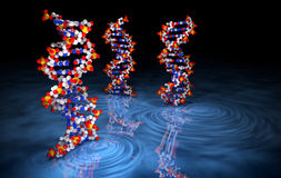 het 3D Teruggeven van DNA-Molecules op Blauwe Oppervlakte Stock Fotografie