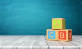 het 3d teruggeven van drie stuk speelgoed blokken van verschillende kleuren met brieven A, B en C op hen die zich op een houten b Royalty-vrije Stock Afbeelding