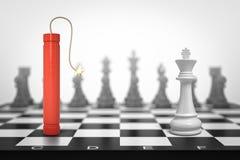 het 3d teruggeven van een aangestoken rode dynamietstok die op schaakbord zich face to face met het Witte Koningsstuk bevinden royalty-vrije illustratie