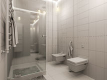 het 3D teruggeven van een badkamers binnenlands ontwerp voor kinderen Royalty-vrije Stock Foto's