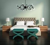 het 3d teruggeven van een elegante groene slaapkamer Stock Foto