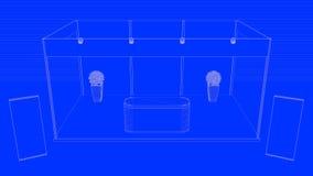 het 3d teruggeven van een geschetste die tentoonstelling op een blauwe backgr wordt geïsoleerd Stock Foto's