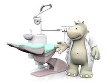 het 3D teruggeven van een glimlachende tandarts van beeldverhaalhippo Stock Afbeeldingen