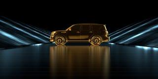 het 3d teruggeven van een gouden auto binnen een futuristische weg met dark Stock Foto's