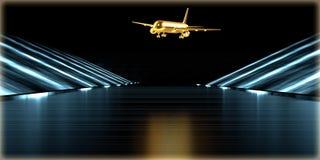 het 3d teruggeven van een gouden voorwerp binnen een futuristische weg Stock Foto's