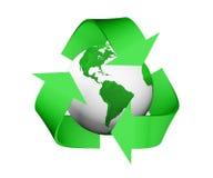 Recycleer pictogram behandelt een groene en witte aarde Stock Fotografie