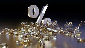 het 3D teruggeven van een groot aantal percenten ondertekent het vallen in een hoop Een groot percent ondertekent onder de kleine Stock Fotografie