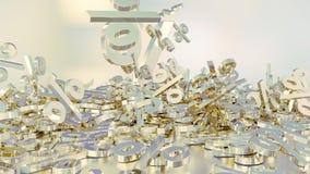het 3D teruggeven van een groot aantal percenten ondertekent het vallen in een hoop Een groot percent ondertekent onder de kleine Stock Afbeeldingen