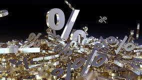 het 3D teruggeven van een groot aantal percenten ondertekent het vallen in een hoop Een groot percent ondertekent onder de kleine Royalty-vrije Stock Afbeelding