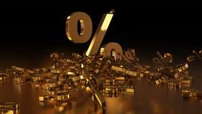 het 3D teruggeven van een groot aantal percenten ondertekent het vallen in een hoop Een groot percent ondertekent onder de kleine Royalty-vrije Stock Afbeeldingen