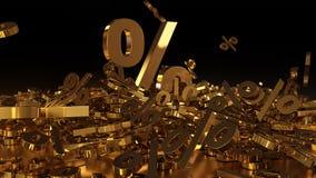 het 3D teruggeven van een groot aantal percenten ondertekent het vallen in een hoop Een groot percent ondertekent onder de kleine Stock Foto