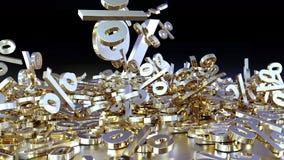 het 3D teruggeven van een groot aantal percenten ondertekent het vallen in een hoop Een groot percent ondertekent onder de kleine Royalty-vrije Stock Foto's