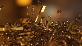 het 3D teruggeven van een groot aantal percenten ondertekent het vallen in een hoop Een groot percent ondertekent onder de kleine Royalty-vrije Stock Foto