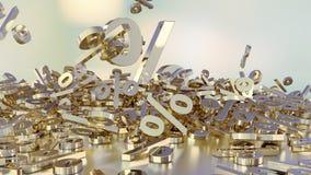 het 3D teruggeven van een groot aantal percenten ondertekent het vallen in een hoop Een groot percent ondertekent onder de kleine Stock Afbeelding