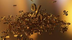 het 3D teruggeven van een groot aantal percenten ondertekent het vallen in een hoop Een groot percent ondertekent onder de kleine Royalty-vrije Stock Fotografie