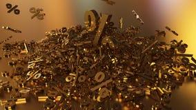 het 3D teruggeven van een groot aantal percenten ondertekent het vallen in een hoop Een groot percent ondertekent onder de kleine Stock Foto's