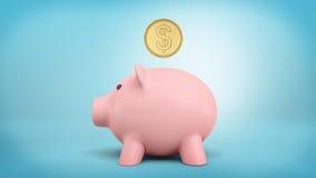 het 3d teruggeven van een groot gouden muntstuk met een dollarteken hangt net boven de groef van het spaarvarken Royalty-vrije Stock Afbeeldingen