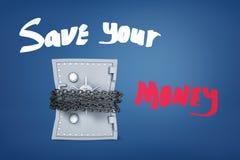 het 3d teruggeven van een grote brandkast bond vast met kettingen en de titel 'sparen uw geld 'op een blauwe achtergrond stock illustratie