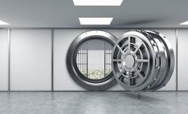 het 3D teruggeven van een grote open ronde metaalbrandkast in een bankopslagruimte Stock Afbeelding