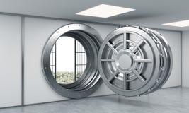 het 3D teruggeven van een grote open ronde metaalbrandkast in een bankopslagruimte Royalty-vrije Stock Foto