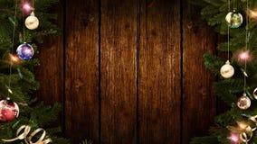 het 3D teruggeven van een helder feestelijk Kerstmiskader op een oude rustieke houten lijst om een verbazende atmosfeer van magis stock afbeeldingen