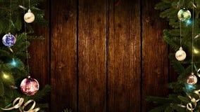het 3D teruggeven van een helder feestelijk Kerstmiskader op een oude rustieke houten lijst om een verbazende atmosfeer van magis royalty-vrije stock fotografie