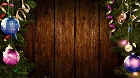 het 3D teruggeven van een helder feestelijk Kerstmiskader op een oude rustieke houten lijst om een verbazende atmosfeer van magis stock foto