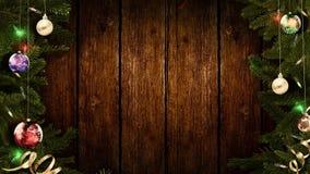 het 3D teruggeven van een helder feestelijk Kerstmiskader op een oude rustieke houten lijst om een verbazende atmosfeer van magis royalty-vrije stock foto