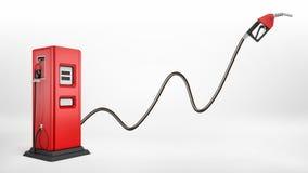 het 3d teruggeven van een heldere rode brandstofpomp in zijaanzicht over witte achtergrond met een grote pijp maakte aan wit het  Stock Fotografie