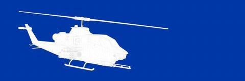 het 3d teruggeven van een helikopter op een blauwe blauwdruk als achtergrond Royalty-vrije Stock Afbeelding