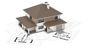 het 3D teruggeven van een huis bovenop blauwdrukken Royalty-vrije Stock Fotografie