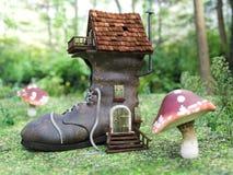 het 3D teruggeven van een huis van de fairytaleschoen in een paddestoelbos Stock Foto