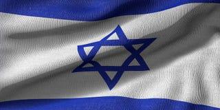 het 3d teruggeven van een Izrael-vlag met stoffentextuur stock illustratie