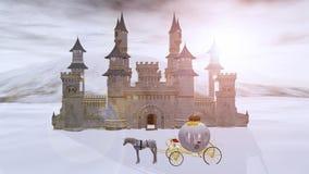het 3D teruggeven van een kasteel van de fairytalewinter Royalty-vrije Stock Fotografie