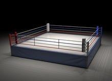 het 3d teruggeven van een lege die boksring in dark onder de aandacht wordt gebracht Royalty-vrije Stock Fotografie